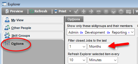 helpdesk explorer close job date interval settings