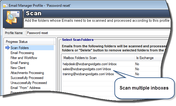 scan email folders and inboxes