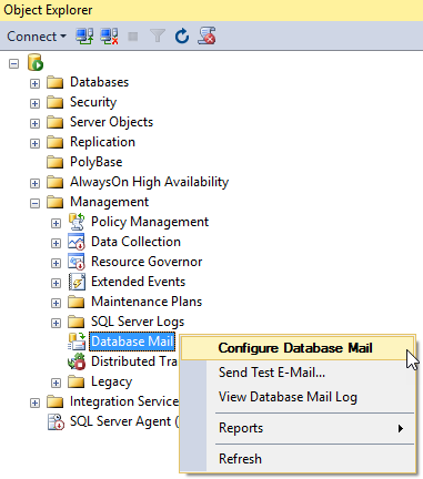 sql mail configuration profile settings