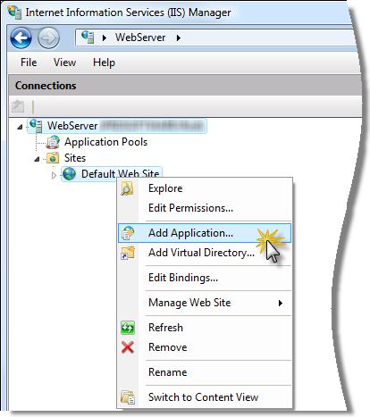 Creating a Web Application (Virtual Directory) in IIS 7