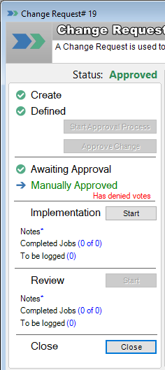 change management manually approved by change owner