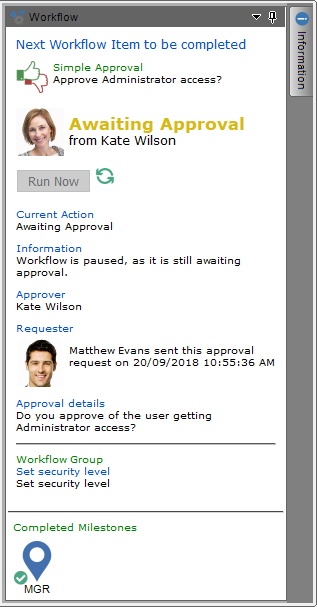 workflow approval process status panel
